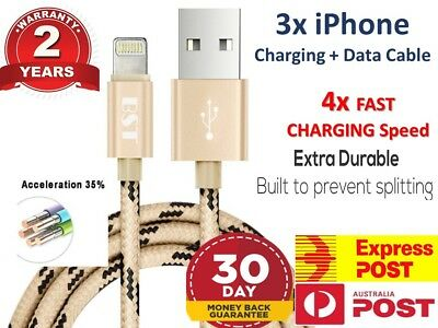 3x Genuine Apple Braided Lightning Sync Data USB Charging Cable iPhone X 6+