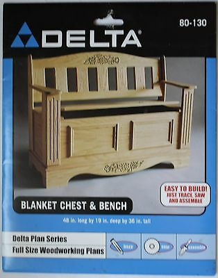 NEW Delta Full Size Woodworking Plans #80-130 Blanket Chest & Bench