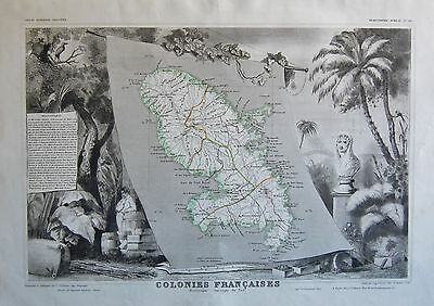 1856 Decorative Antique Map Levasseur-Colonies Francaises,martinique
