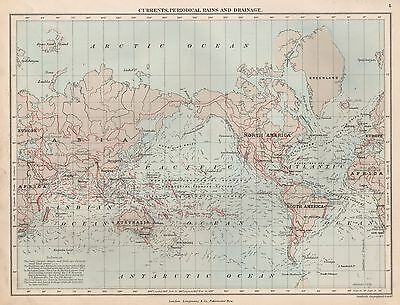 1889 Antique Map World Currents Periodical Rains And Drainage