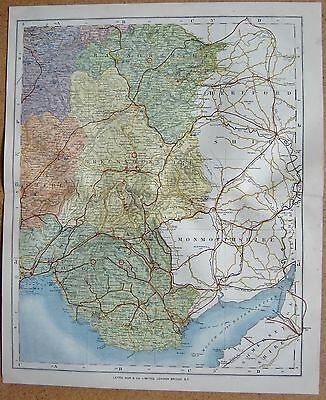 1884 Letts's County Map Wales,south East Glamorgan, Brecknock, Radnor