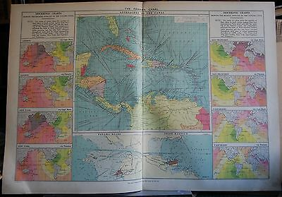 1915  Large Antique Mercantile Map - The Panama Canal, Approaches,isochronic Cha