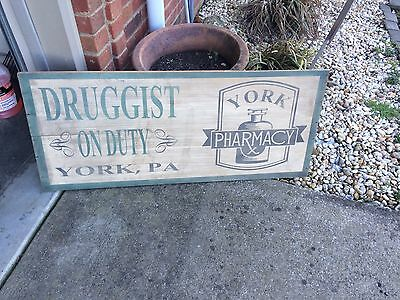 "York PA Druggist RX Pharmacy Medical Doctor Wood Trade Sign 40"" X 17"""