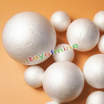 10PCS 10-120mm Modelling Polystyrene Styrofoam Foam Ball Xmas Tree Wedding Decor