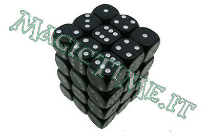 Set 36 dadi CHESSEX Opaque Black w/White Nero Opaco con Bianco 25808 Dice CHX