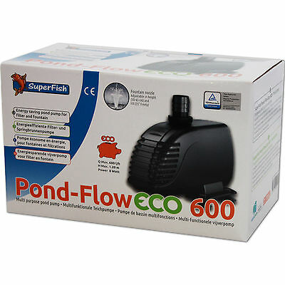 SUPERFISH POND FLOW ECO 600 - Filter Teich Springbrunnen Pumpe Stromsparend
