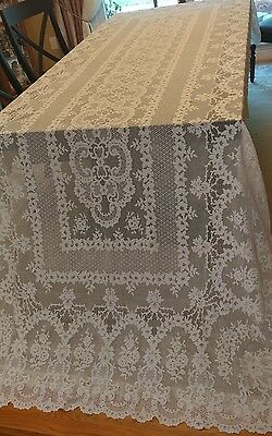 "French Alencon lace tablecloth 138""×62"""