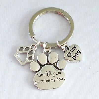 You left paw prints on my heart, pet memorial key ring nickel safe alloy charms