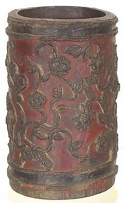 Antique Chinese Hand Carved Bamboo Brush Pot / Pen Holder w Flower Design