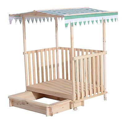 Children's UV Resistant Canopy Sandbox Playhouse Wooden Cottage Kids House New