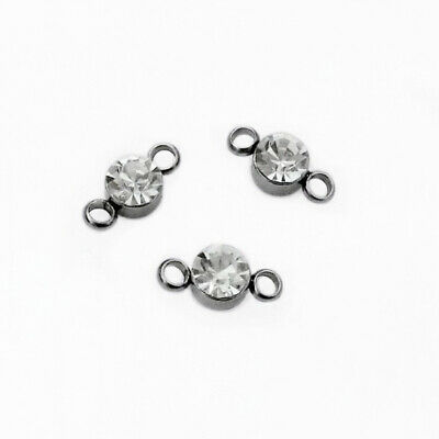 10 x Clear Glass 5mm Crystal Round Rhinestone Connectors - Stainless Steel Bezel