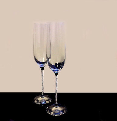 Uk New Champagne Flutes With Swarovski Crystal Filled Stem Set Of 2 Pair Wedding