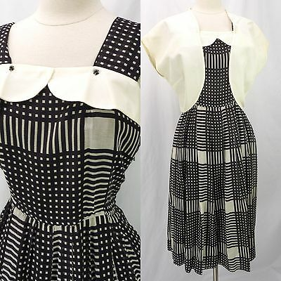 Vintage 50s Black & Ivory Checker Print Gauze Overlay Day Dress w/Bolero M
