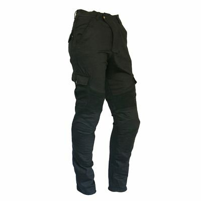 New Men's Black Cotton Stretch Motorcycle Cargo Pants Reinforced with DuPont? Ke