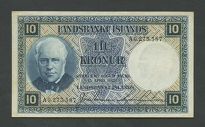 ICELAND - 10 kronor  1934-47  P28b  About EF  ( World Paper Money )