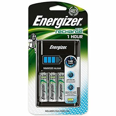 Energizer One Hour Charger 2500 Mah With 4 x AA Batteries Charges 4 x AA or AAA