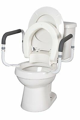Hinged Toilet Seat Riser W/Removable Padded Toilet Safety Frames Arms