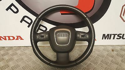 Audi A4 B7 S Line Genuine 3 Spoke Black Leather Steering Wheel With Airbag