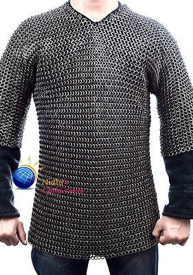 Large Haubergeon Medieval Armour Chainmaille Shirt 9Mm Flat Riveted With Washer