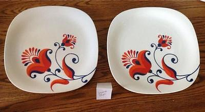 RETRO Two Dinner Plates  BLOCK LANGENTHAL Switzerland Transition Flower C2