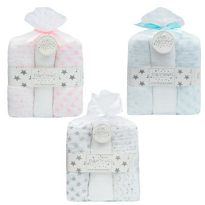 Baby Cotton Square Muslin Burp Cloth Bib Comforter Nappy Wipe 3 Pack Gift Bag