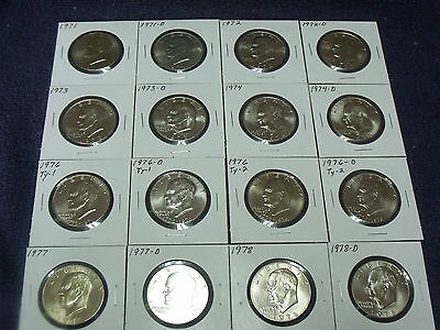 1971 to 1978 P&D Eisenhower Dollar set ( 16 coins ) Choice Uncirculated