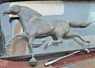 Vintage Copper Running Hollow Body Horse Weathervane Old Antique Farm Racing