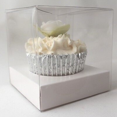 Clear Single Cupcake boxes: 100mm : optional white inserts - premium quality