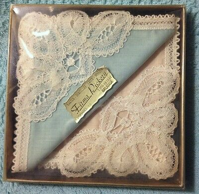 Firma Pickery Gift Box w/Two Handkerchiefs  Battenberg Lace Trim Never Used