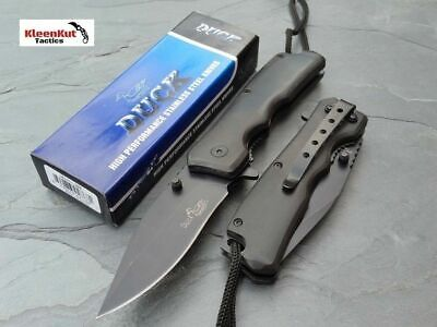 """NEW 7.5"""" BLACK Wood Pakka Spring Assisted TACTICAL Pocket Knife w/ Cord + Clip"""