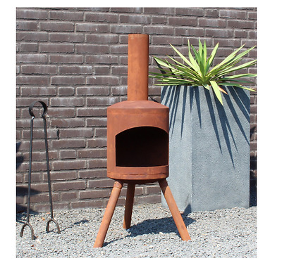 Garden Fire Pit Chiminea Small Rusty Look 115cm x 30cm NEW Outdoor Patio Grill