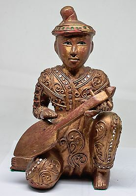 Vintage Carved Wood Thai Musician Figurine ~ 9 Inches Tall ~