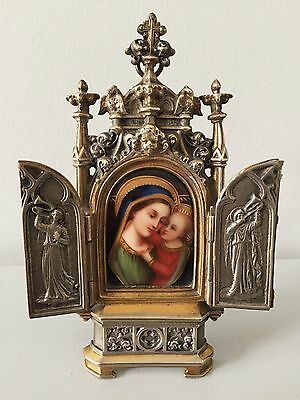 RARE, antique 19C plaque porcelain hand painted virgin, frame bronze signed