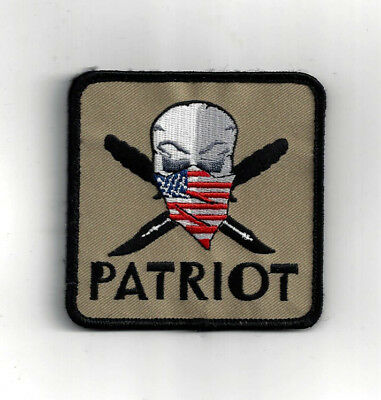 Patriot Pirate Skull Us Flag Scarf Hat Hat Patch Patriotic Pin Up Usa Daggers
