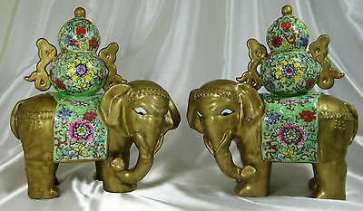 Antique Pair Chinese Porcelain Enameled Gold Gilt Elephant Statues Signed