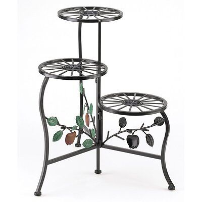 Country Apple Wrought Iron 3 Shelf Flower Pot Plant Stand Home Garden Decoration