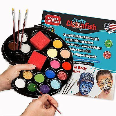 Face Painting Kit 16 color with Gift Box 3 Brushes 3 Sponges FREE ebook Face Pai
