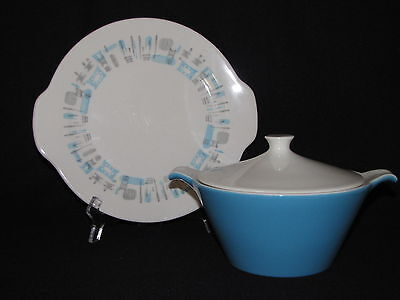 Royal China Blue Heaven Covered Vegetable Bowl and Handled Cake Plate Vintage
