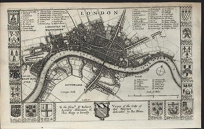 London England city plan w/ Coats of Arms 1673 by Richard Blome rare map