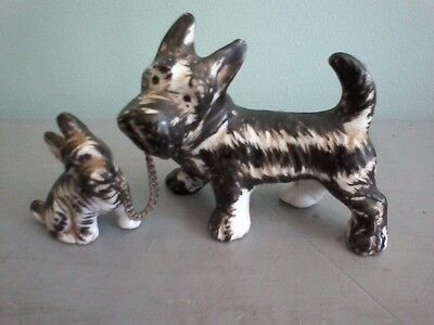 Vintage Porcelain MIniature Schnauzer Terrier Dog & Puppy Figurine Japan