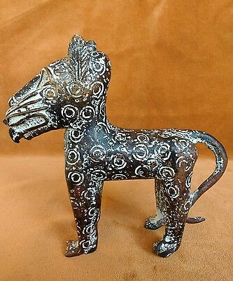 Benin type bronze leopard Nigeria statuette figure lost wax method 20th century