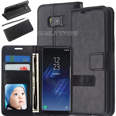 Samsung Galaxy S8 Slim Genuine Leather Flip Wallet Stand Battery Case Cover