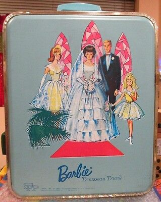 1964 Rare Barbie Hard Case~Wedding Party~Double Sided Trunk~Wig Stand~Very Clean