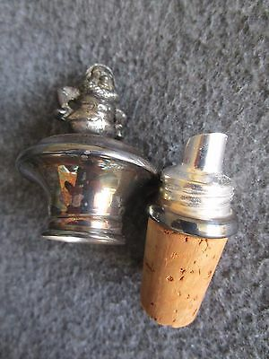 Antique German Silver Plated Pourer Stopper Dwarf Figurine In Box