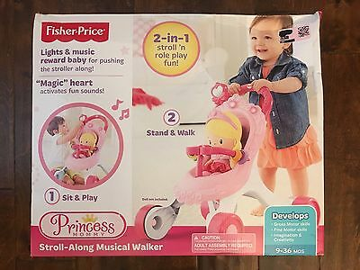 Fisher-Price Stroll-along Walker 1 Sit & Play 2 Stand & Walk Music New