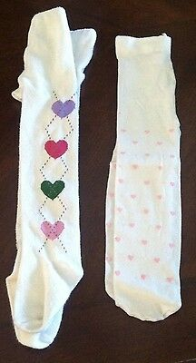Gymboree 2 Pairs Of Tights With Hearts Size 6-12 Months
