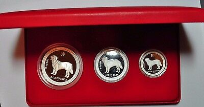 2006 Australian Lunar Series I Year Of The Dog Three Coin Silver Proof Set
