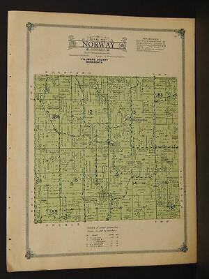 Minnesota Fillmore County Map 1915 Norway Township   W3#37