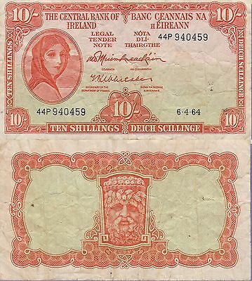 Ireland 10 Shillings Banknote,1964 Choice Fine Condition Cat#63-A-0459