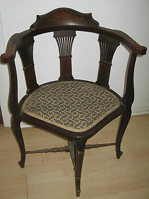 Antique Edwardian Inlaid Three Corner Chair